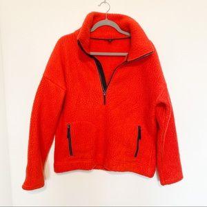 J. Crew Polartec 1/4 Zip Fleece orange Medium